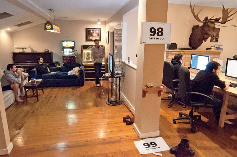 <b>Home Base</b> 42Floor's co-founders (from left) Ben Ehmke, David Woodworth, Jason Freedman, and Jon and James Bracy live and work in a four-bedroom house as they prepare to launch.