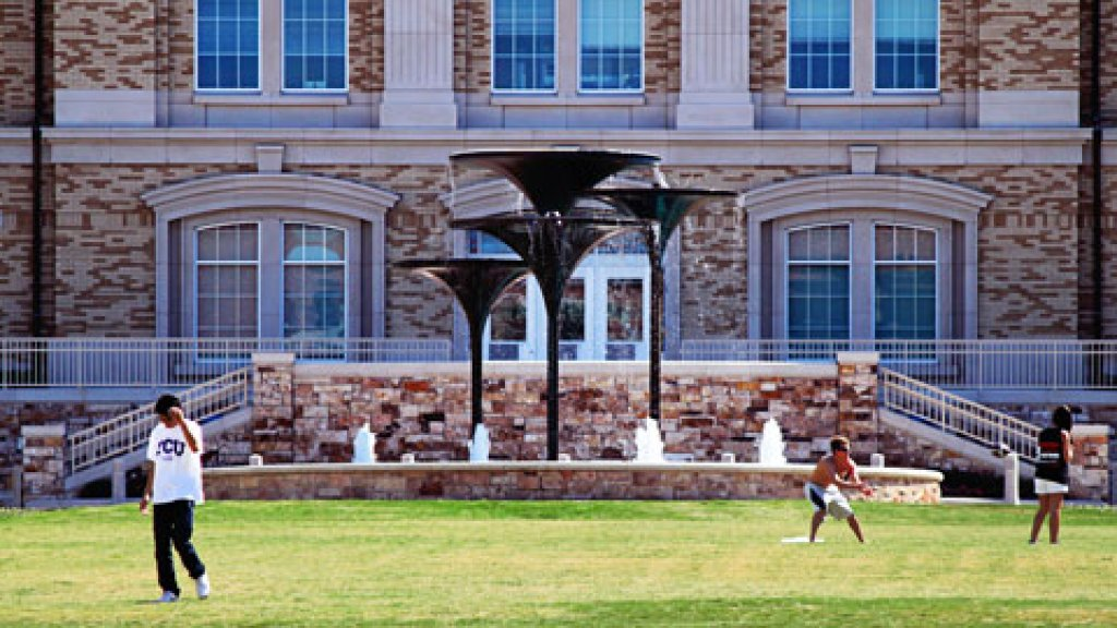 Students on the lawn of Texas Christian University.