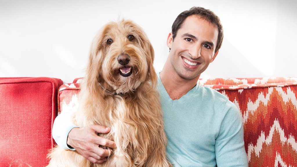 Aaron Hirschhorn, founder of DogVacay, and his dog Rocky.