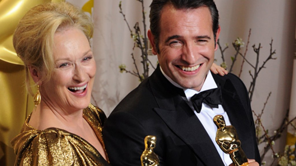 Best Actress Meryl Streep and Best Actor Jean Dujardin appear backstage at the 84th annual Academy Awards at the Hollywood and Highland Center in Los Angeles