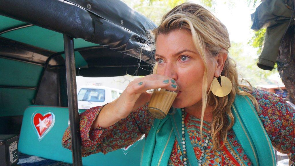 Bhakti Chai founder Brook Eddy tastes locally brewed chai tea in Jaipur, India.