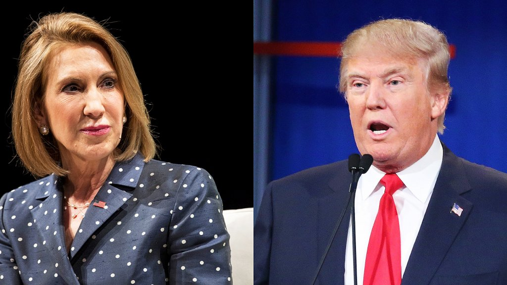 Carly Fiorina (left) and Donald Trump.
