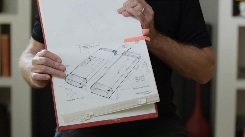 Marc Porat, Founder and CEO of General Magic, displays his 1989 drawings of the Smart Phone he imagined. Still taken from 'General Magic,' directors Matt Maude and Sarah Kerruish.