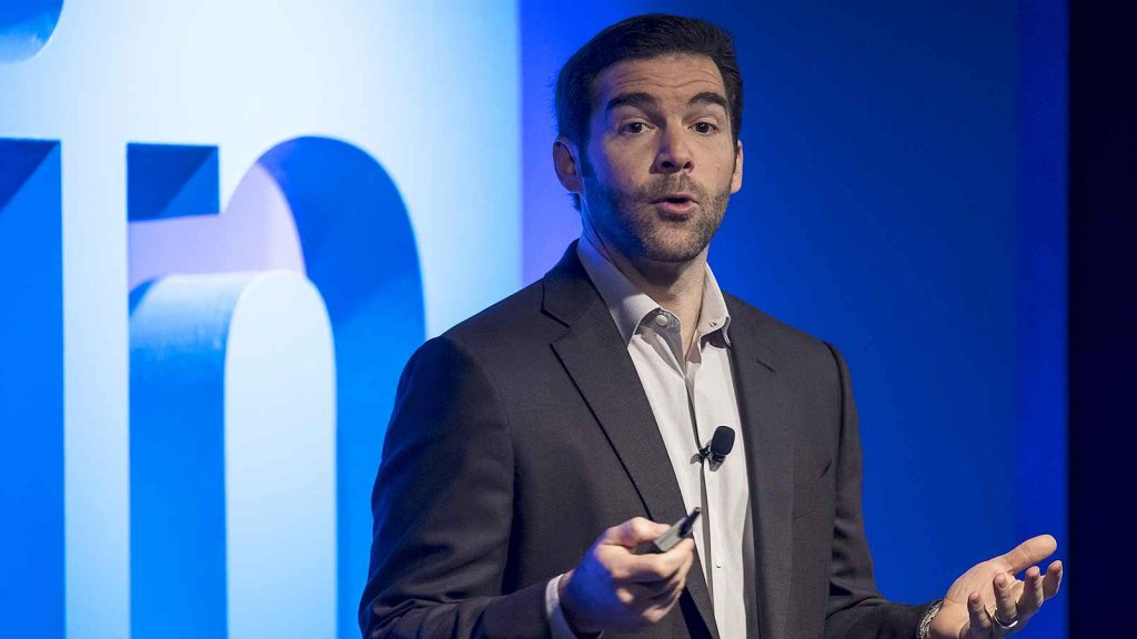 Jeffrey 'Jeff' Weiner, chief executive officer of LinkedIn Corp., speaks during an event at the company's headquarters in San Francisco.