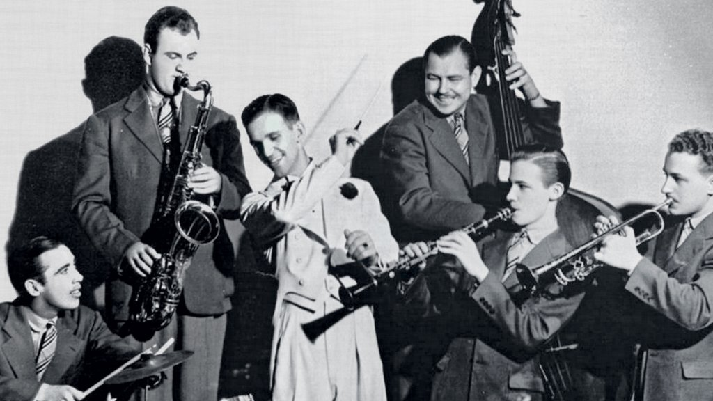 A bandleader in the 1930s and early '40s, Leonard Edstrom (in white tails), along with his brother Hal, later pivoted to music publishing. It was a wise choice, as small combos supplanted big bands after World War II.