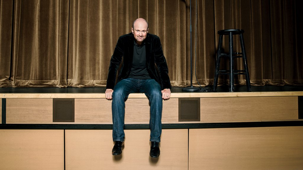 Brian Volk-Weiss at the Broad Stage theater in Los Angeles. He's practiced in the care and feeding of comedians.