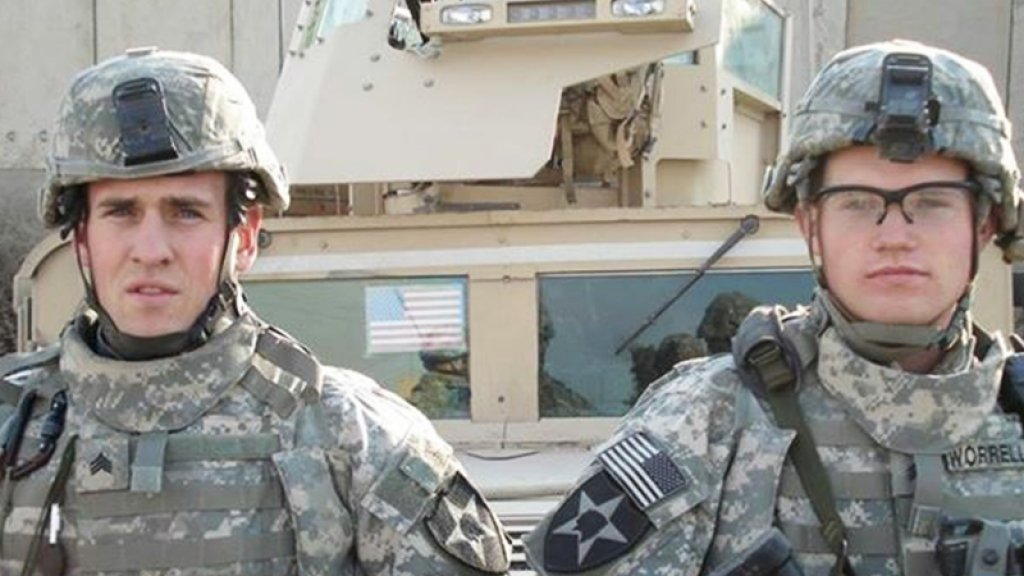 Private First Class Justin Miller (left) and fellow service member Sergeant Worrel.