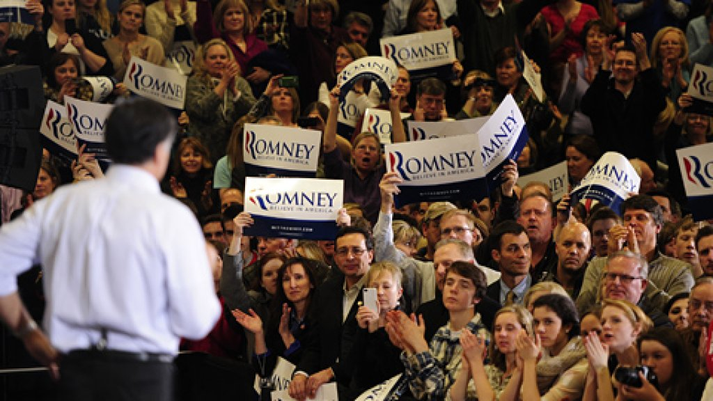 Republican presidential hopeful Mitt Romney holds a campaign rally at Arapahoe High School in Centennial, Colorado