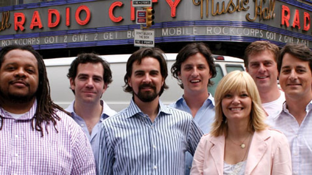 RockCorps Founders (left to right) Chris Robinson (Creative Director), Noel Eisenberg, Paul Hunter, Stephen Greene (CEO), Haley Moffett (Head of Production), Toby Garrett, Grady Lee (COO).