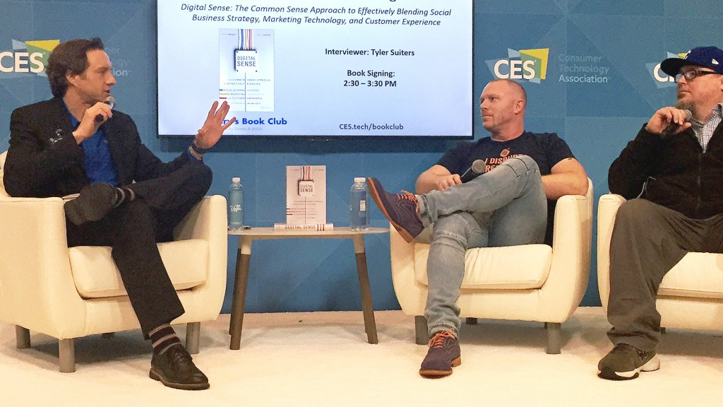 The Author at CES 2018 in Las Vegas, Grand Stage Interview on Digital Sense with Travis Wright.