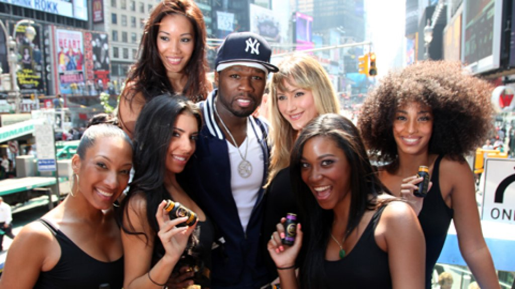 Rapper 50 Cent attends the Street King by 50 Cent Double Decker Bus Tour in Times Square.