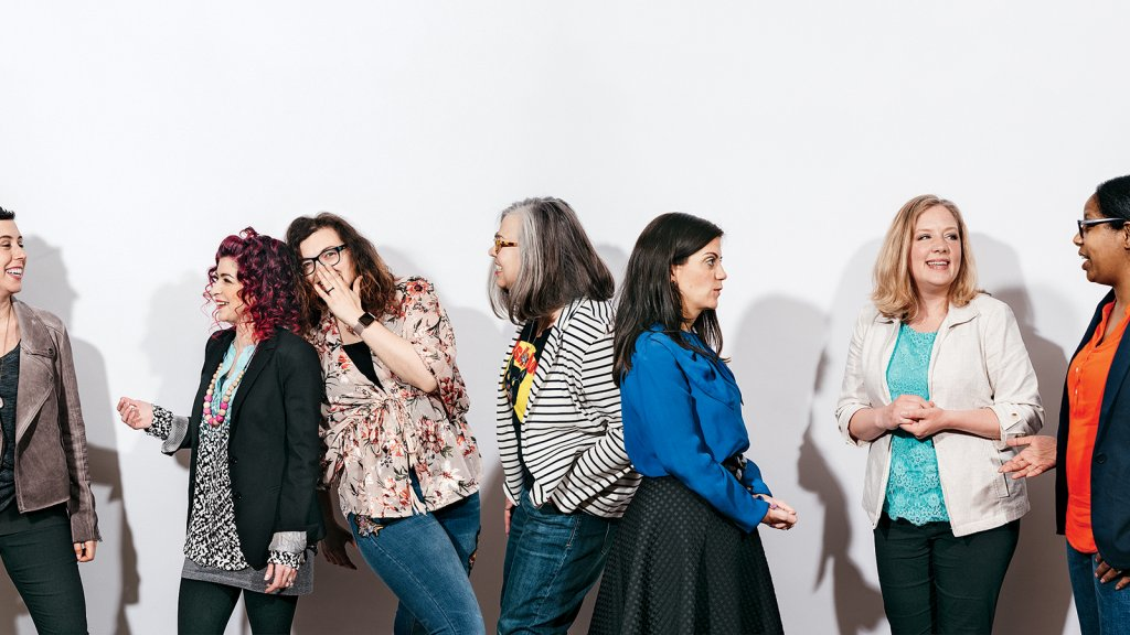 Purple Monkey Playroom CEO Jessica Roubitchek (left), Tekhni President Alisa DeMarco, Parent & Co. CEO Xza Higgins, Wishcraft Workshop and C'mon, Let's Rally CEO Candice Blansett-Cummins, Honey Bee Weddings CEO Misse Daniel, Bucktown Music President Jessica Solares, and TK Photography co-founder Tiana Kubik.