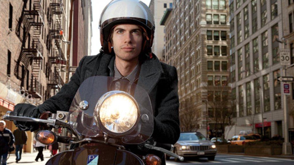 <b>Enjoying the Ride</b> David Karp often commutes to the office on his Vespa.