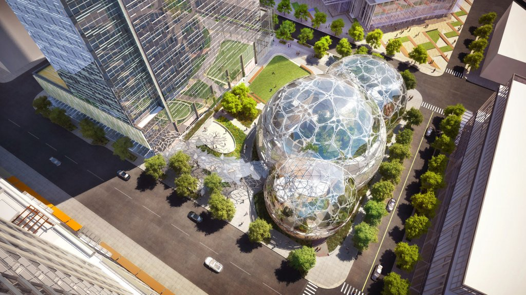 The Amazon biospheres are part of a larger 3.3 million square foot project that company is building in its home town of Seattle.