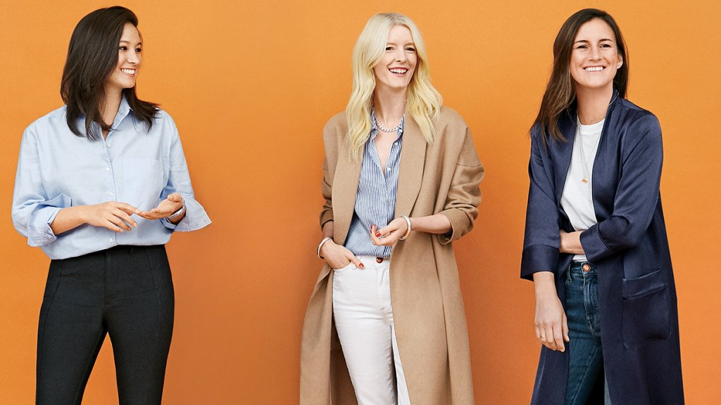 """From Left: Maggie Winter, AYR's CEO. She Cut her teeth at J.Crew and Madewell; Jac Cameron, AYR's creative director, who according to Winter, makes """"the best jeans in the world, period.""""; Max Bonbrest, AYR's resident marketing whiz and COO, who left the Olsen twins' company to work with Winter and Cameron"""