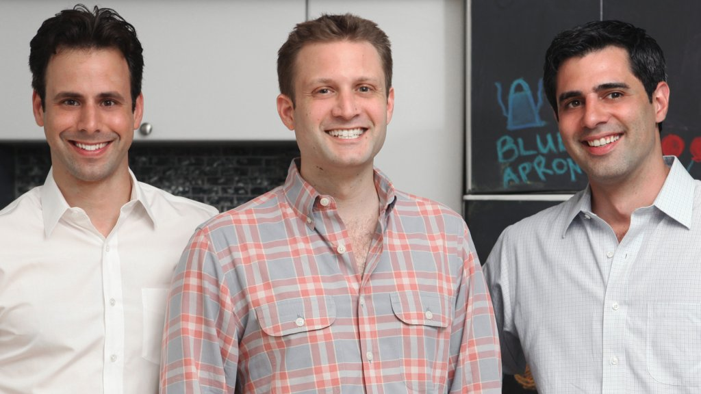 (L-R) Blue Apron co-founders Matt Wadiak, Matt Salzberg and Ilia Papas.