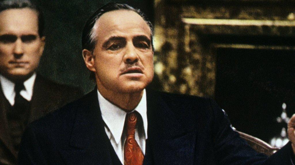 The actor Marlon Brando as Vito Corleone in <em>The Godfather.</em>