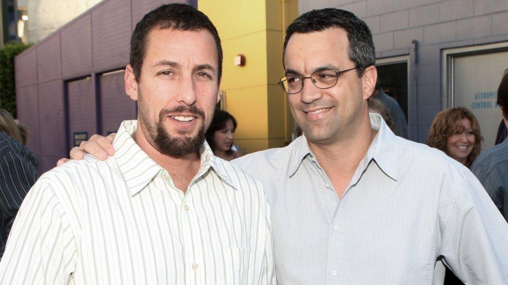 Adam Sandler (left) with UrLife co-founder Jack Giarraputo, former partner at Happy Madison Productions.