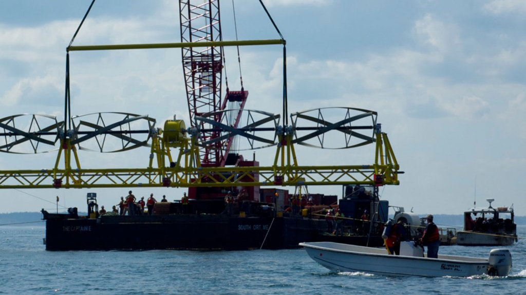 ORPC's TidGen turbine generator, shown here, was lowered into Cobscook Bay off the coast of Lubec, Maine, on Tuesday, August 14.