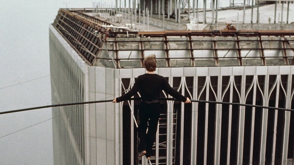 Philippe Petit, tightrope walker, who walked a tightrope between the twin towers of the World Trade Center in New York City August 7, 1974.
