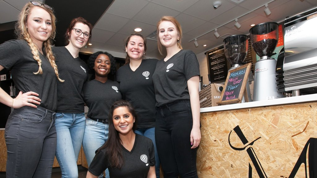 Millersville student employees at Saxbys's campus café.
