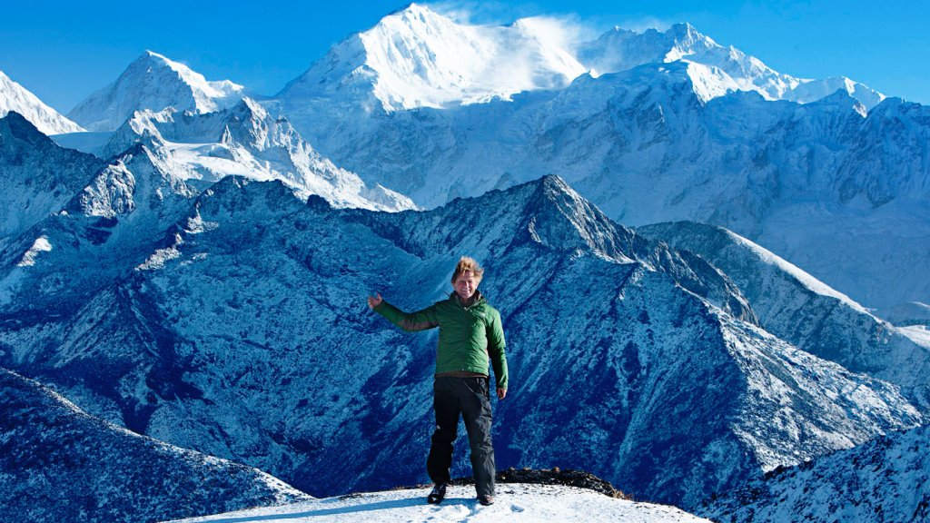 <strong>Superhealthy</strong> Steve Demos, hiking in the Himalayas where he got his idea for NextFoods.