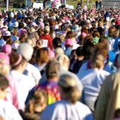 Some of the 26,000 women who participate in the Susan G. Komen Race for the Cure to raise money to fight breast cancer.