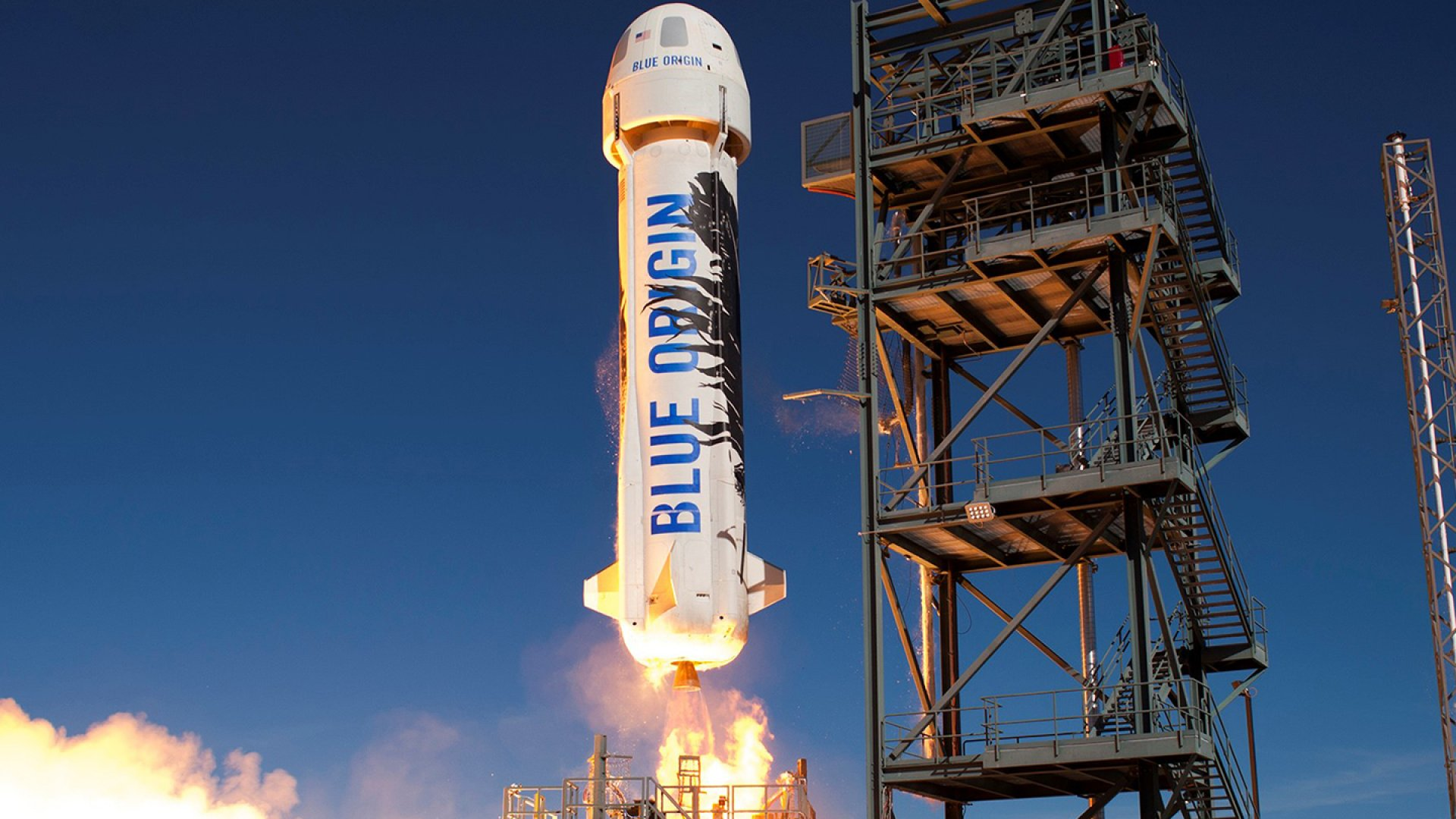 Blue Origin's New Shepard spacecraft launches from the company's West Texas launch site.