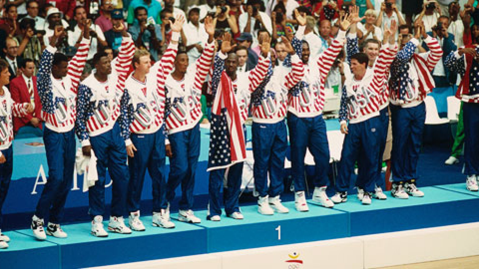 <strong>The Dream Team:</strong> (from left) Christian Laettner, David Robinson, Patrick Ewing, Larry Bird, Scottie Pippen, Michael Jordan, Clyde Drexler, Karl Malone, John Stockton, Chris Mullin, Charles Barkley and Magic Johnson.