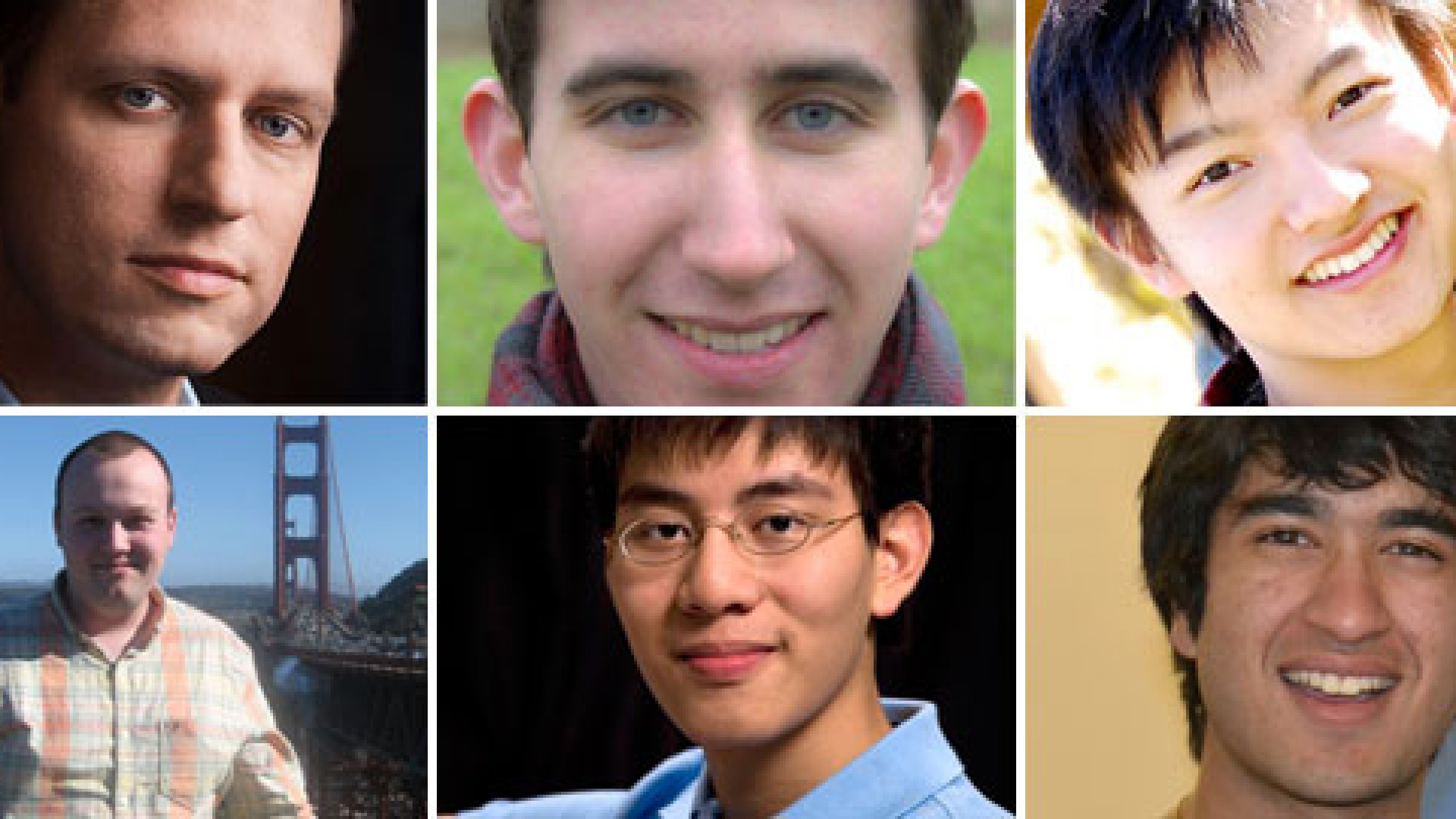 Clockwise from top left: Peter Thiel with first-year fellows Dale Stephens, Paul Gu, Sujay Tyle, Andrew Hsu, and Gary Kurek