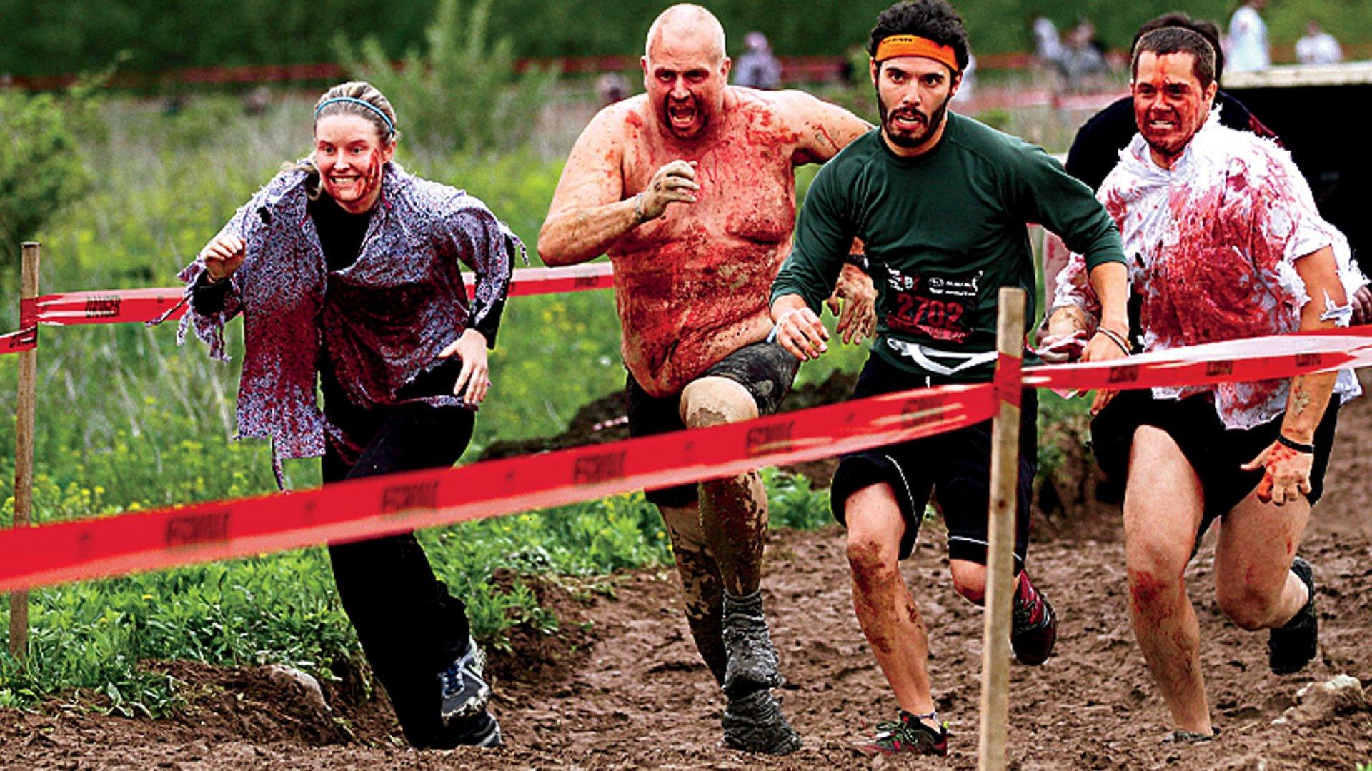 <b>Brains!</b> A Boston runner had plenty of motivation.