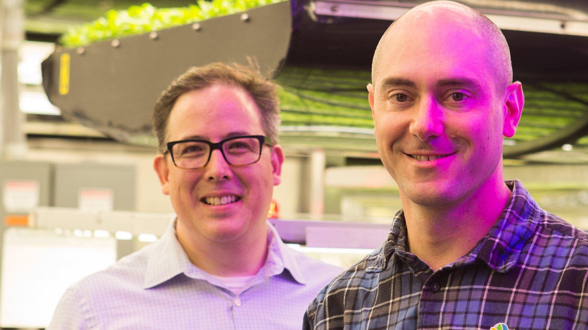 AeroFarms co-founders Marc Oshima (left) and David Rosenberg.