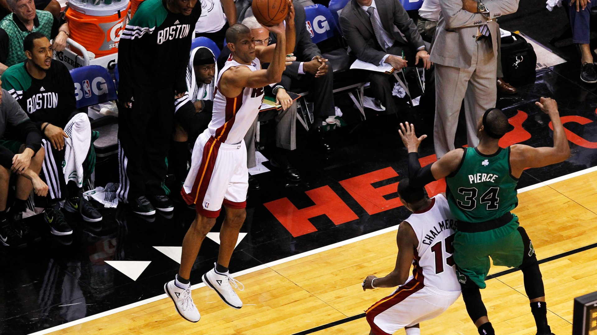 Shane Battier #31 of the Miami Heat attempts a 3-point shot against the Boston Celtics.