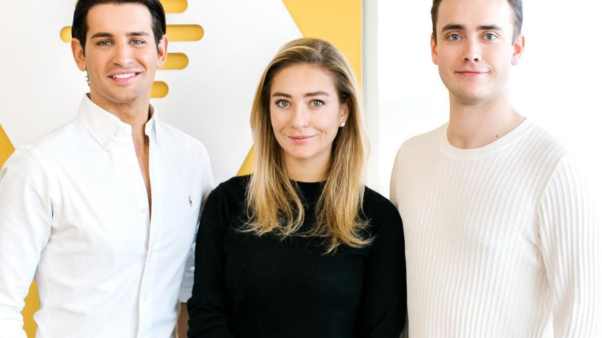 Bumble co-founder and CEO Whitney Wolfe, center, with Chappy co-founders Ollie Locke (left) and Jack Rogers (right.)