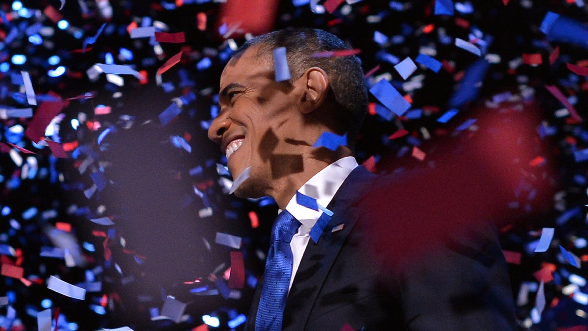 US President Barack Obama celebrates after delivering his acceptance speech in Chicago.
