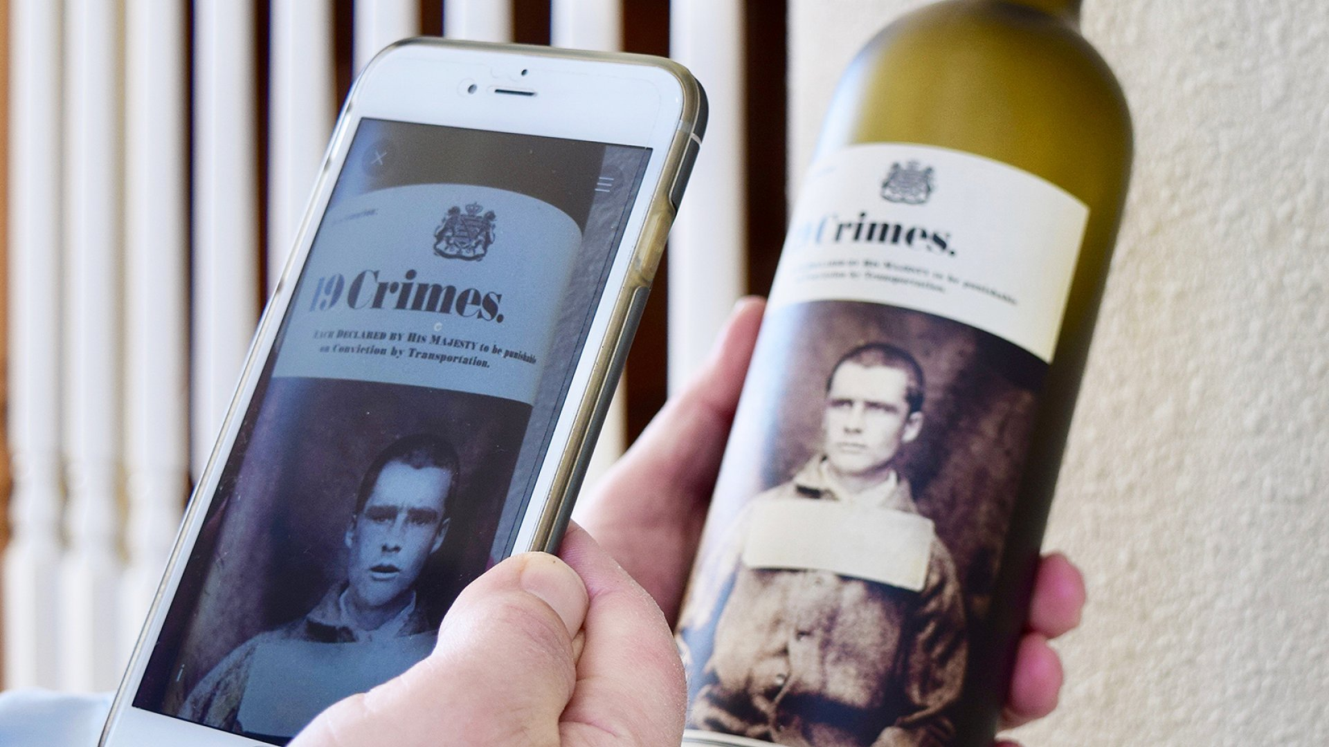 19 Crimes' talking wine label by TWE.