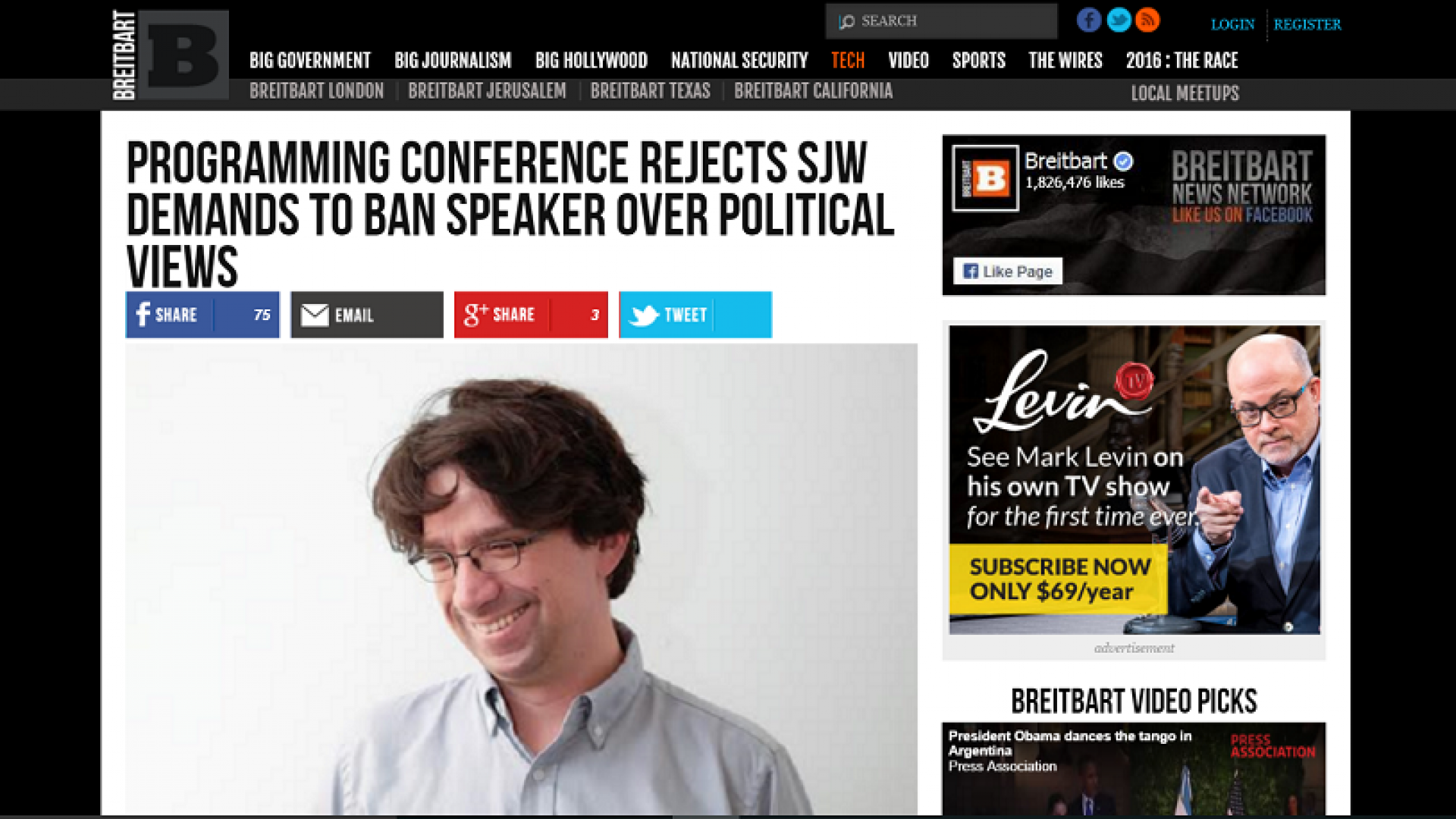"""A screenshot of a March 2015 story appearing on conservative blog Breitbart, about functional programming conference LambdaConf deciding to retain Curtis Yarvin as a speaker. The acronym """"SJW"""" stands for """"social justice warrior,"""" a pejorative phrase used by far right-leaning conservatives, typically to refer to people who openly express liberal vieviewpoints online."""