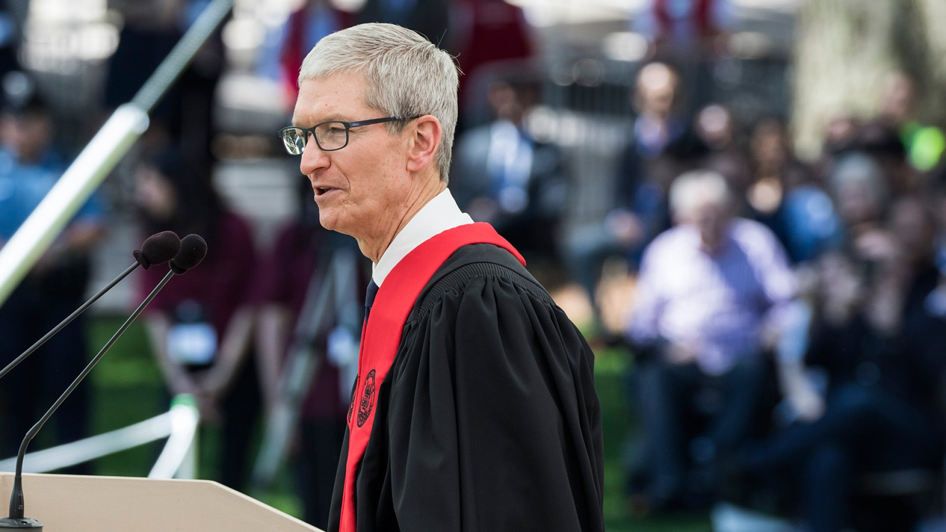 Tim Cook speaks at the 2017 MIT Commencement Ceremony.