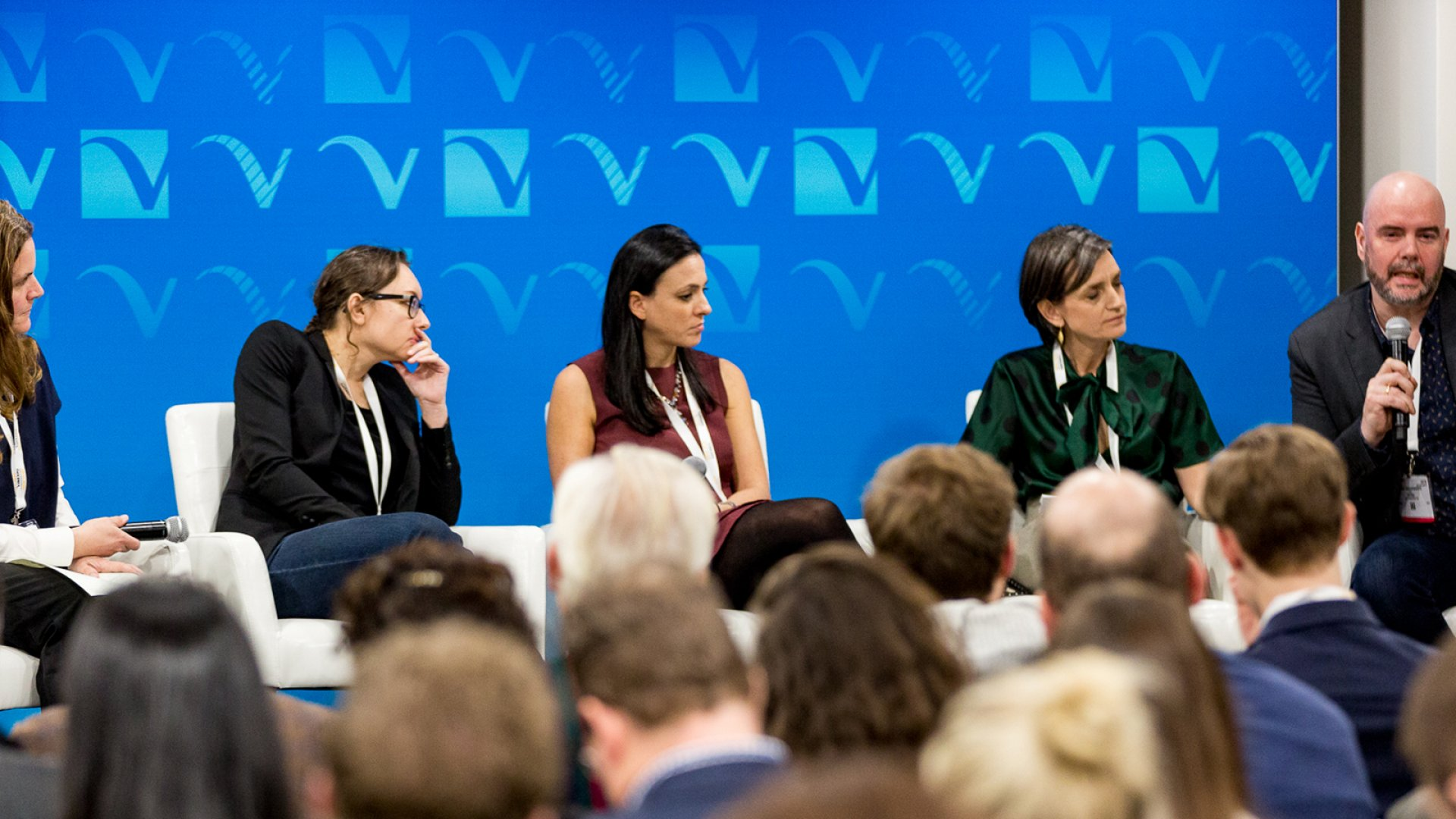 "This panel at Vinexpo New York in early March was an excellent opportunity to ""publicly boost colleagues."" From left to right: Moderator Cathy Huyghe of Enolytics, Pascaline Lepeltier MS of Racine's New York, Lara Crystal or Minibar Delivery, Valerie Gerard-Matsuura of Sopexa, and Heini Zachariassen of Vivino. Not pictured: Jacob Moynihan of Merchant23."