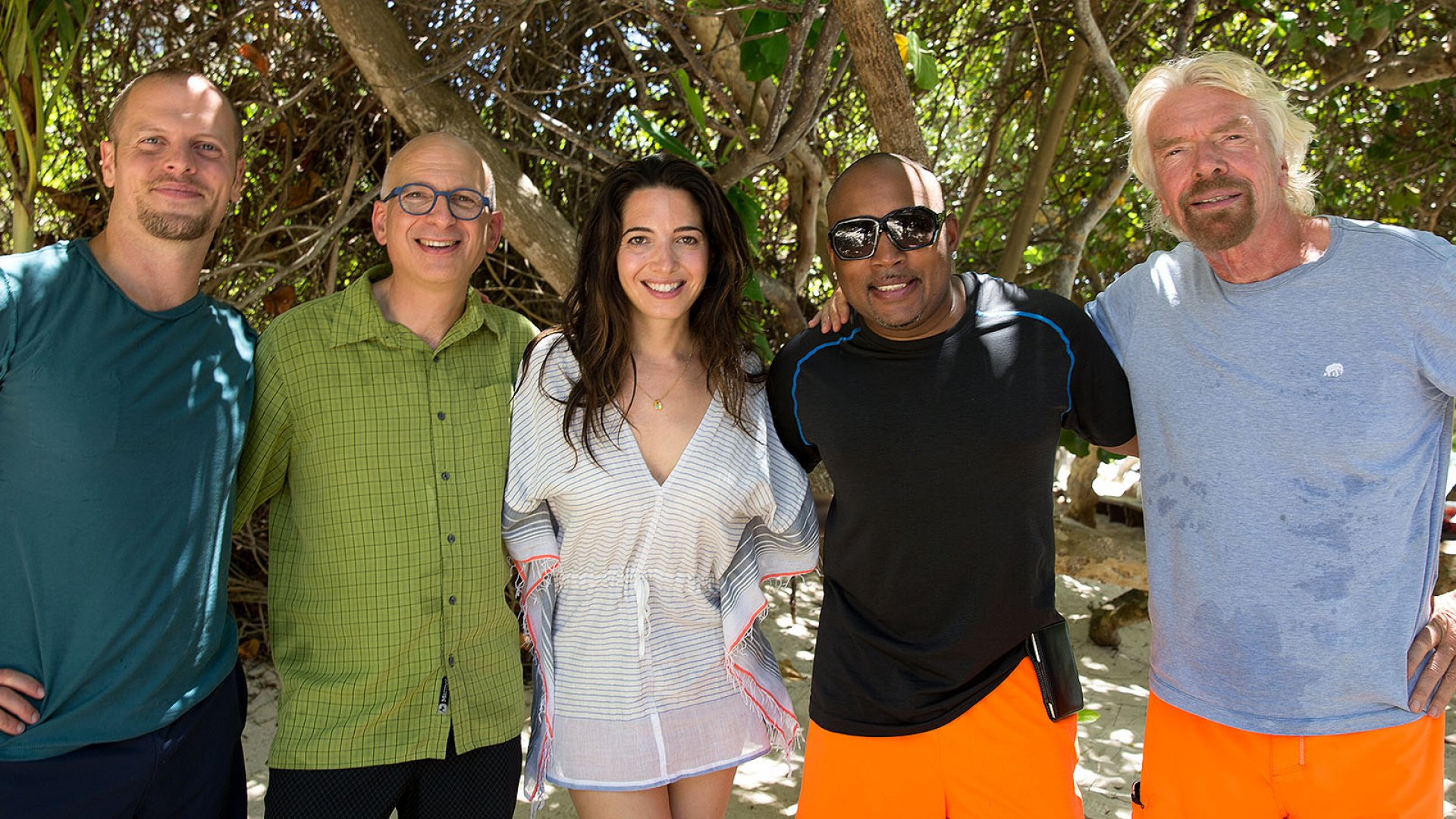 Left to right: Tim Ferriss, Seth Godin, Marie Forleo, Daymond John, and Richard Branson on Necker Island, where the winners of Shopify's 2015 Build a Business competition recently spent five days with them.