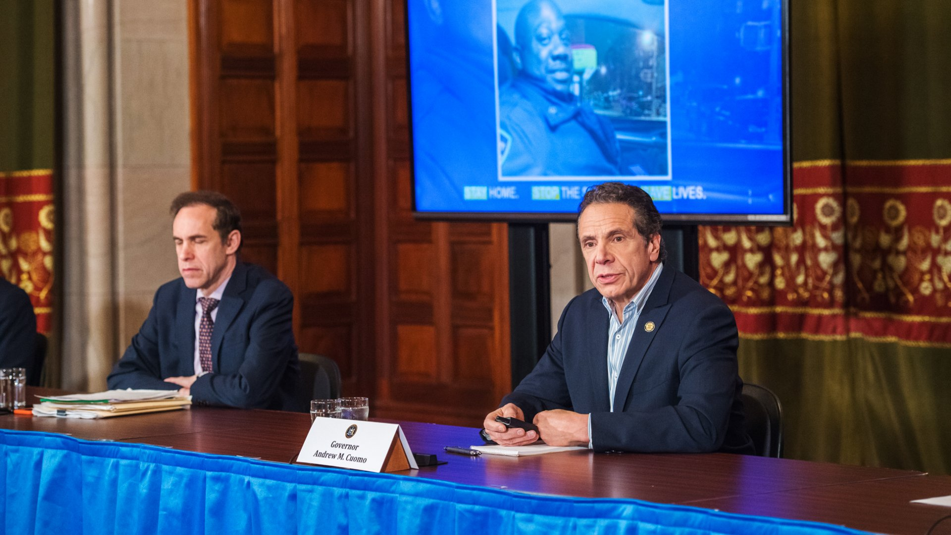 Governor Andrew Cuomo delivering daily press briefing on coronavirus in Albany, NY.