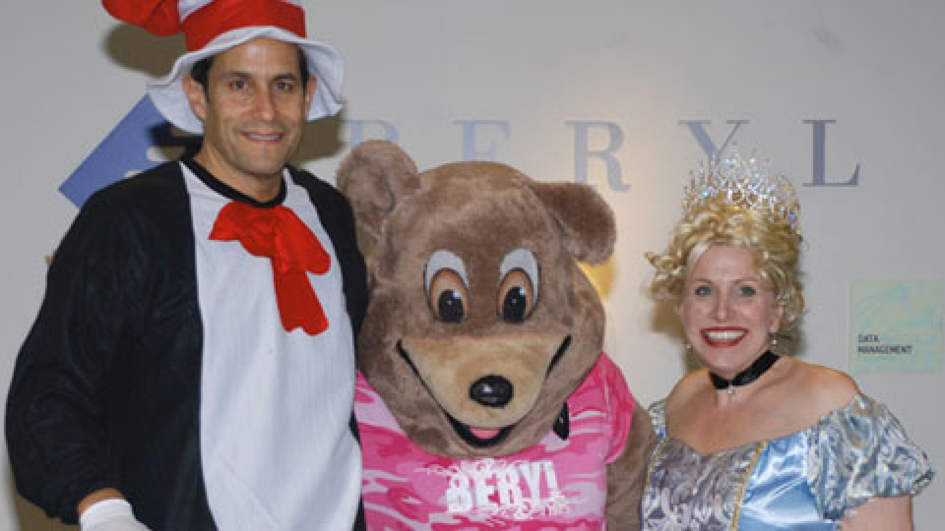 Beryl founder Paul Spiegelman with Lara Morrow, Beryl's queen of laughter and fun, and the Beryl bear in 2008.