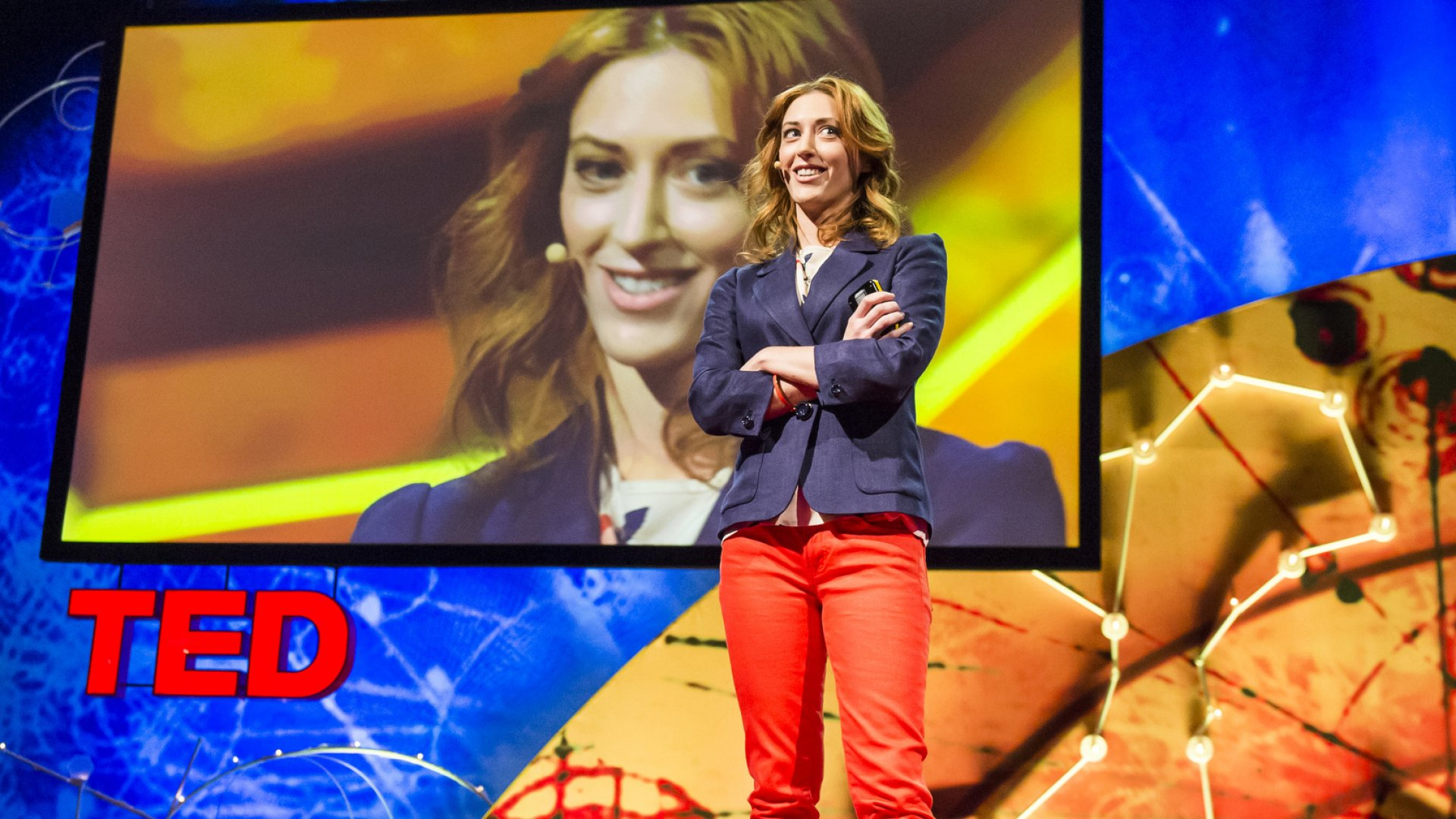 Psychologist Kelly McGonigal delivers her TED talk.
