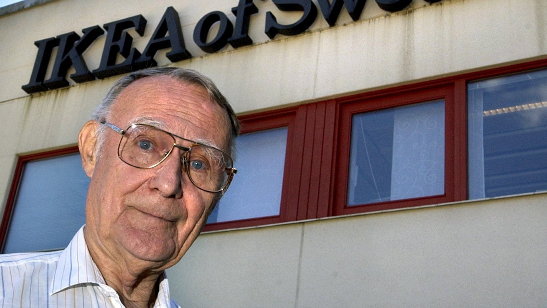 In this Aug. 6, 2002 file photo, Ingvar Kamprad, founder of Swedish multinational furniture retailer IKEA, stands outside the company's head office in Almhult, Sweden. IKEA confirmed Sunday Ingvar Kamprad, the IKEA founder who created a global furniture empire, has died at 91.