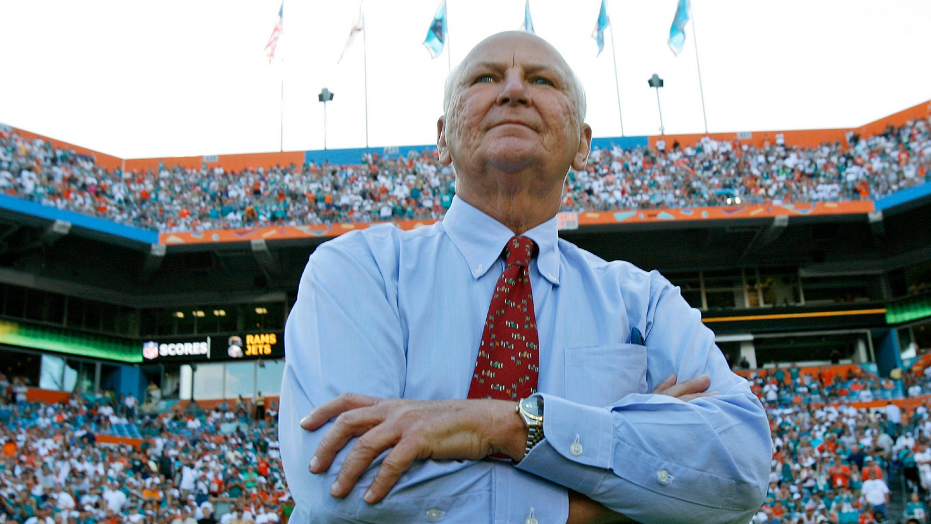 This November 9, 2008, file photo shows H. Wayne Huizenga at Dolphin Stadium in Miami. Huizenga, a college dropout who built a business empire that included Blockbuster Entertainment, AutoNation, and three professional sports franchises, has died. He was 80.