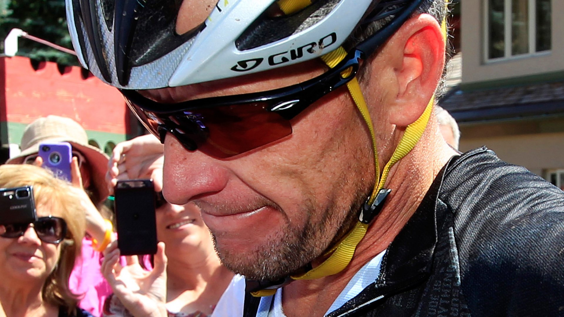 Lance Armstrong at the Power of Four mountain bicycle race at the base of Aspen Mountain in Aspen, Colo.
