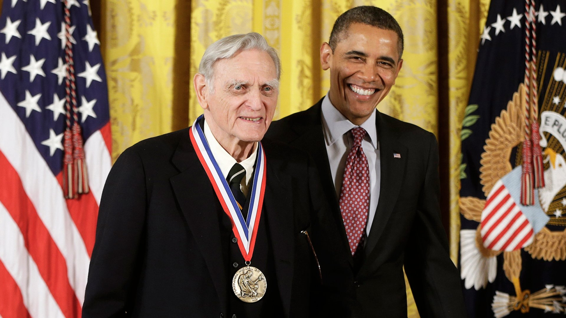 President Obama awards John Goodenough the National Medal of Science, the highest honor bestowed by the U.S. on scientists, engineers, and inventors, during a ceremony at the White House on February 1, 2013.