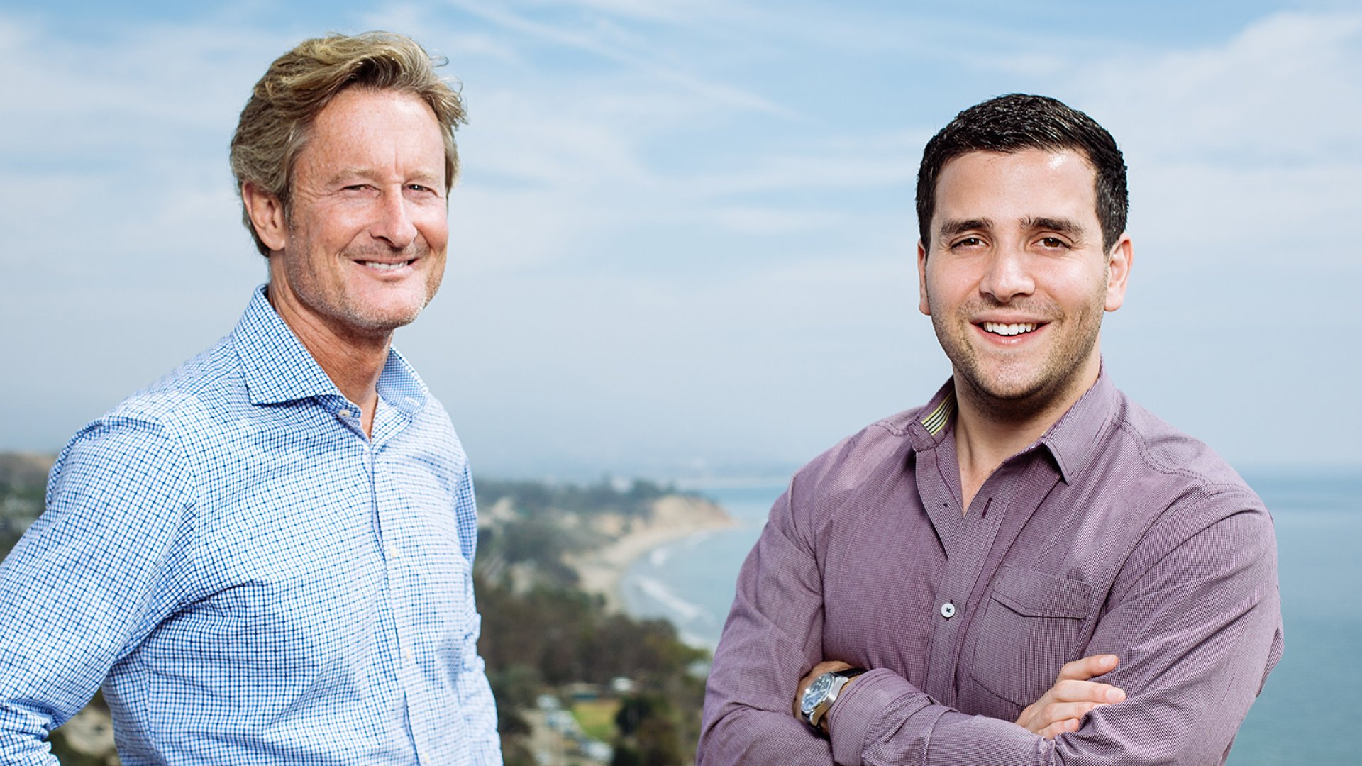 Graphiq, an artificial intelligence startup that specializes in creating interactive infographics, on Tuesday announced a partnership to distribute its charts through the Associated Press. Above, Graphiq CEO and founder Kevin O'Connor (left) and vice president Alex Rosenberg.