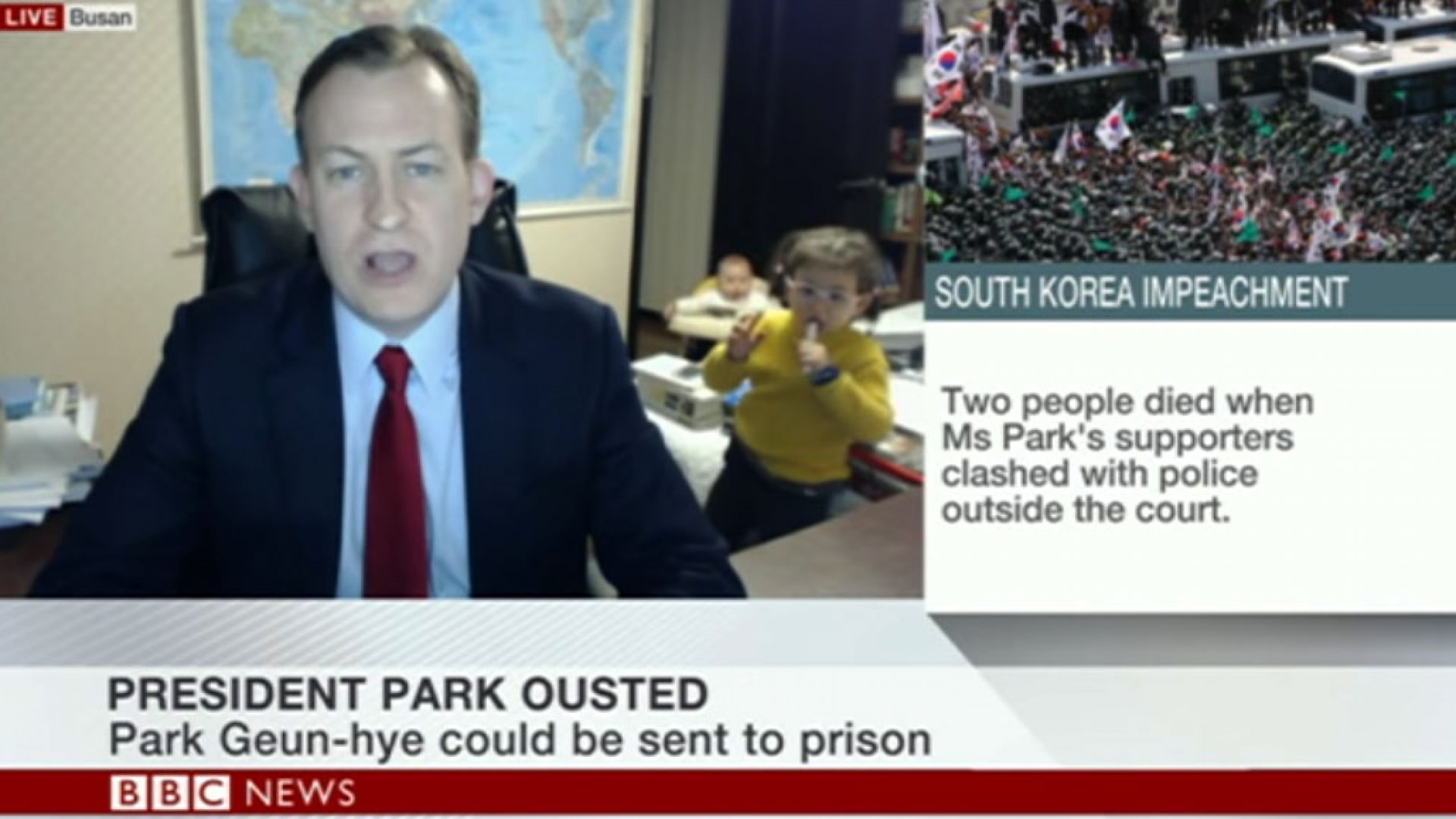 A guest's children momentarily interrupted a live BBC interview.