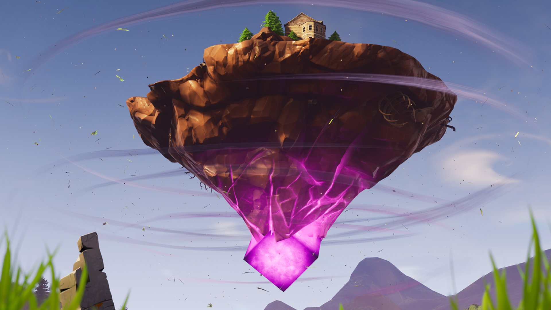 A still of the floating island from Epic Games' hugely popular Fortnite.